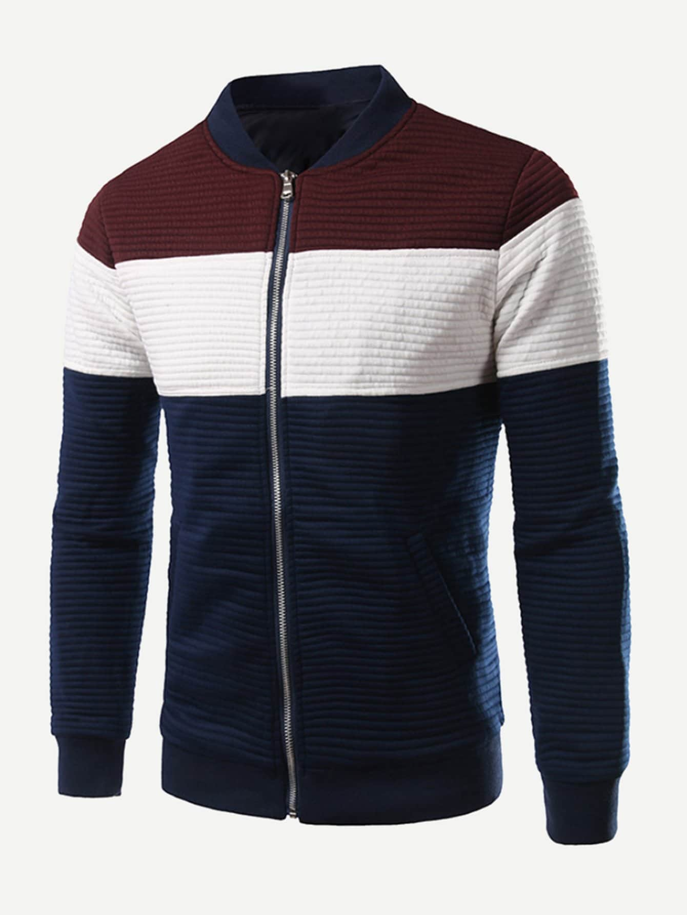 Men Rib Knit Trim Color Block Jacket