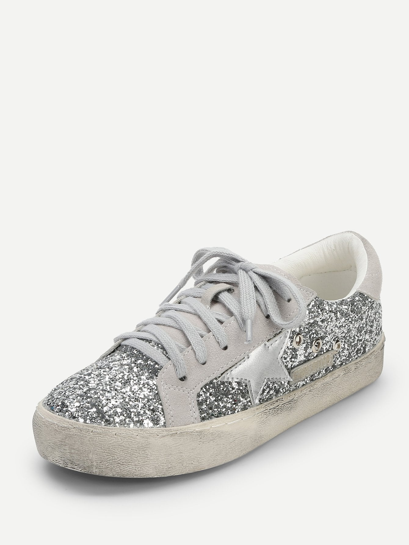 Star Detail Glitter Lace Up Sneakers
