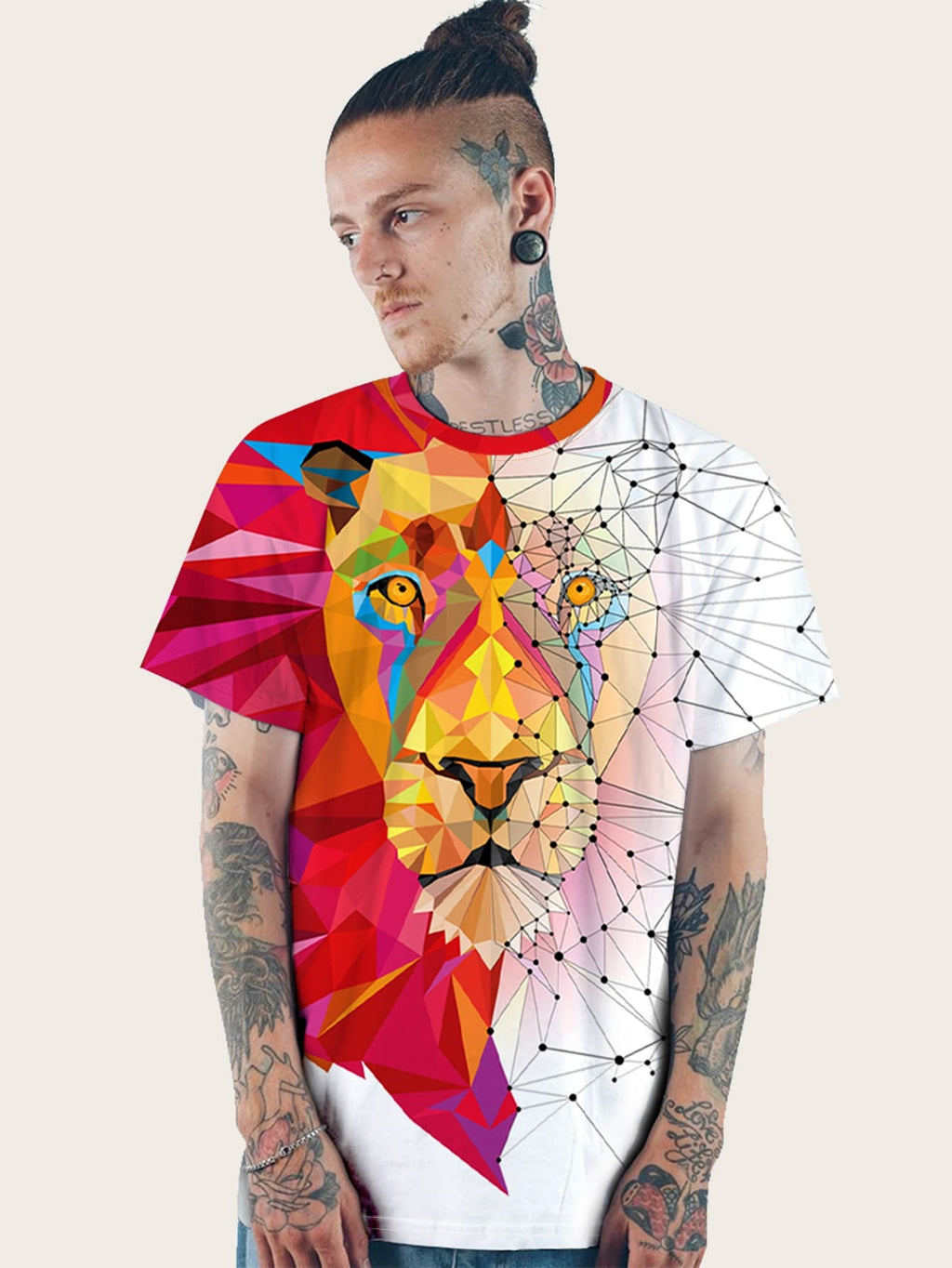 Men 3D Animal & Geometric Print Tee