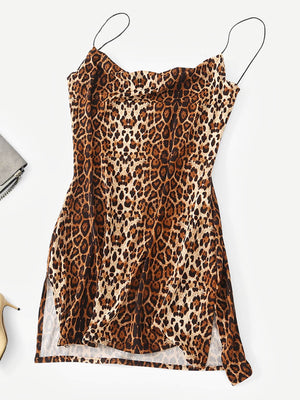 Leopard Print Slit Hem Cami Dress