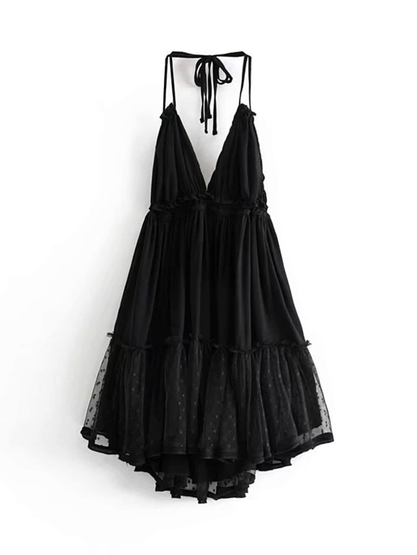 Lace Panel Layered Ruffle Halter Dress