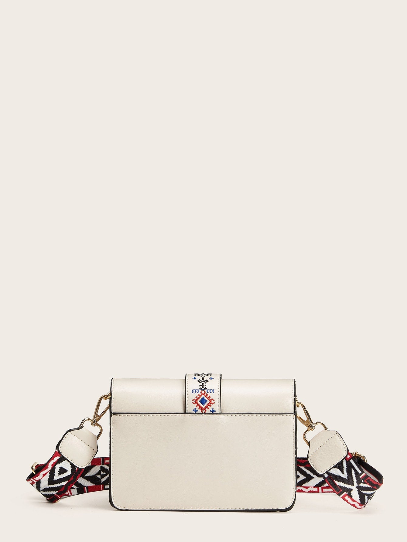 Embroidery Detail Strap Crossbody Bag