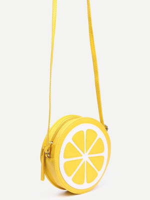 Yellow Lemon Shaped Crossbody Bag