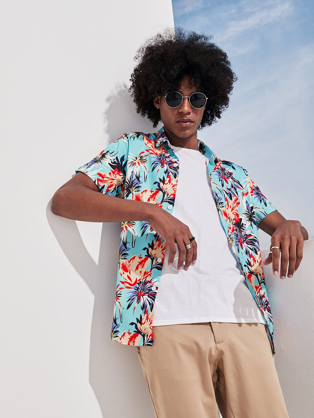Men Leaf Print Hawaiian Shirt