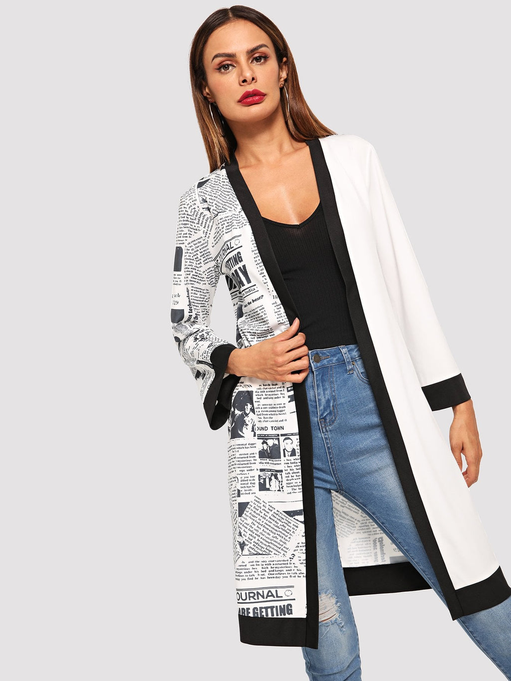Letter Print Panel Outerwear