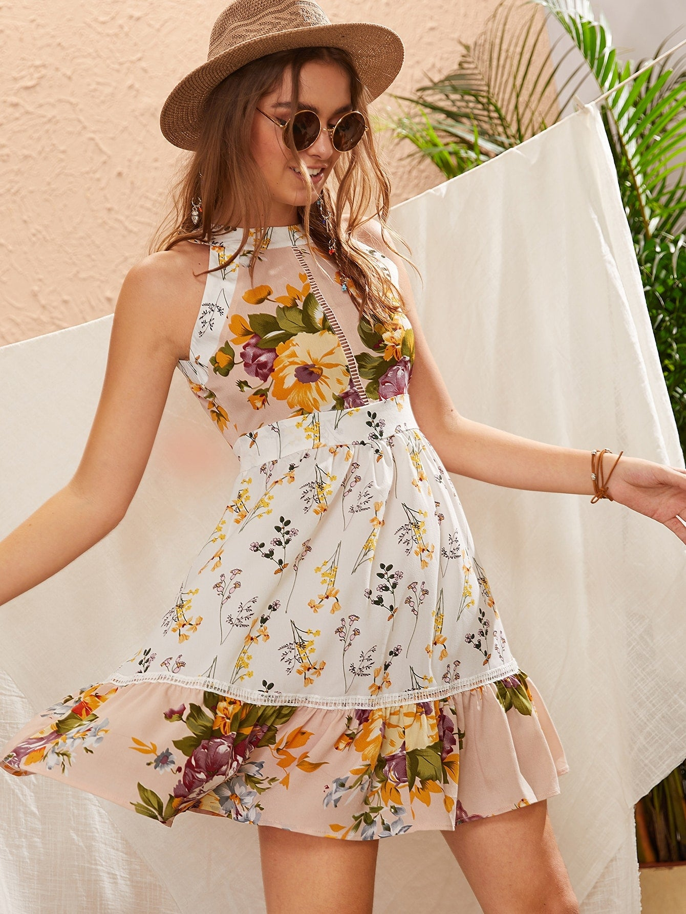 Floral Sleeveless Halter Dress | 2 Variants