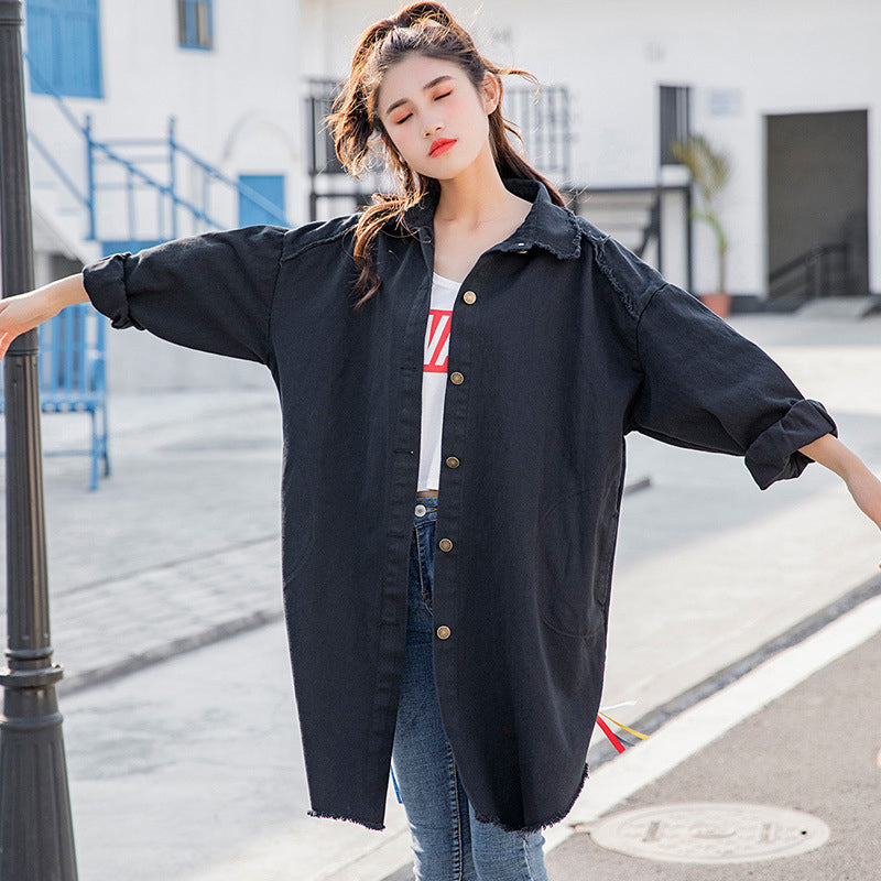 Korean Print Loose Single Breasted Coat