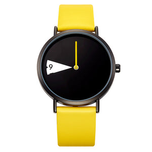 Clock Rotate Yellow Leather Band