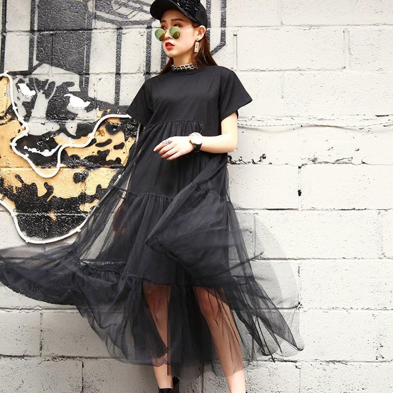 Loose Black Stitching Net Dress