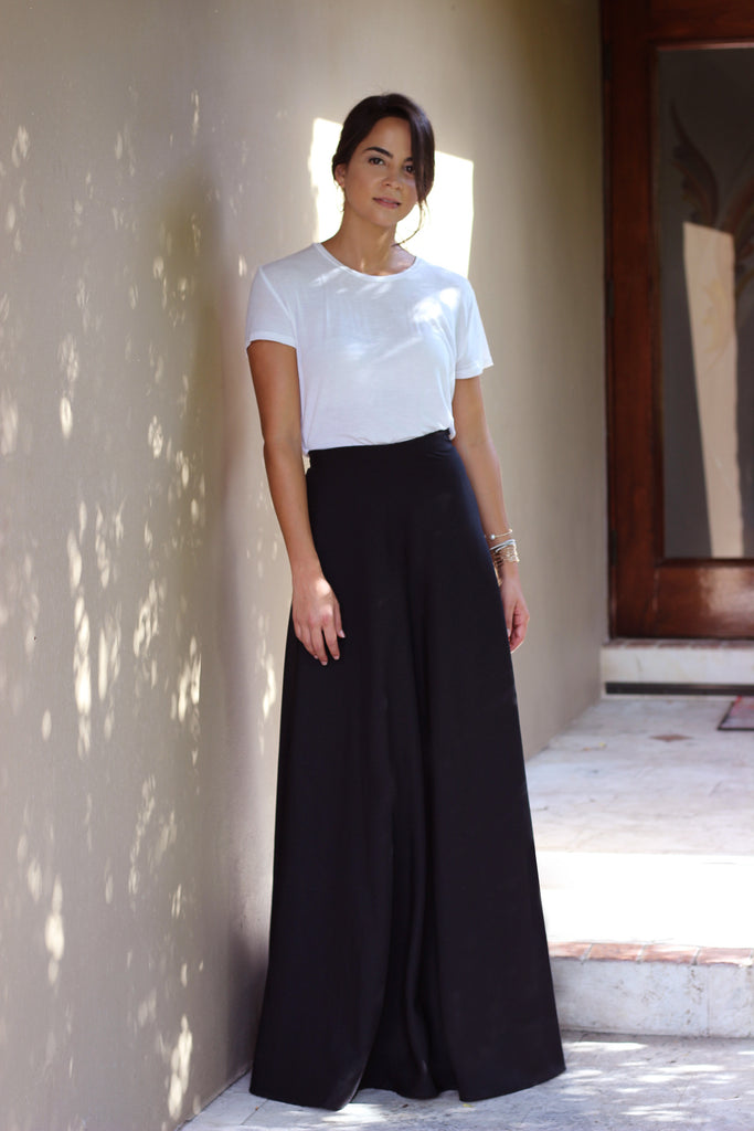 Black Wrap Maxi Skirt
