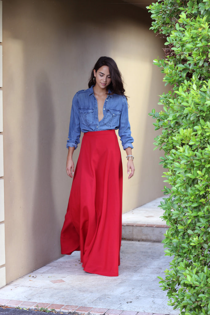 Vibrant Red Wrap Maxi Skirt
