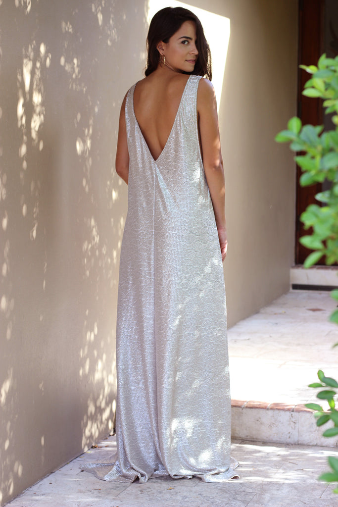 Luna Metallic Maxi Dress