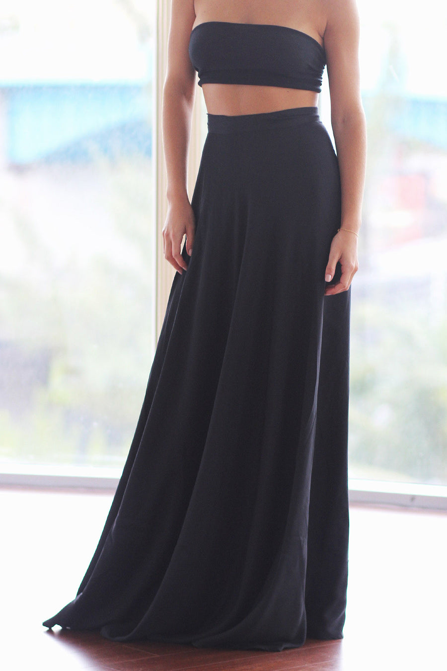 All Night Black Maxi Skirt