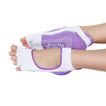 Half Toe Non-Slip Socks - White & Purple