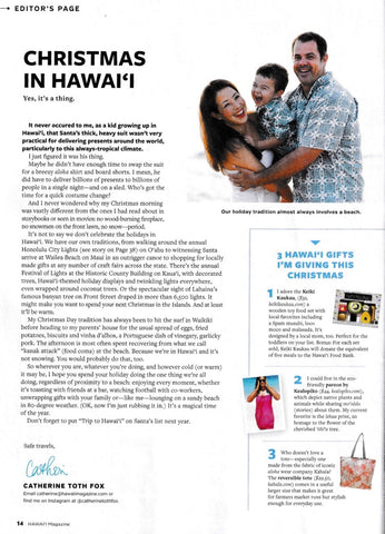Hawaii Magazine Editor's Page Christmas Hawaii