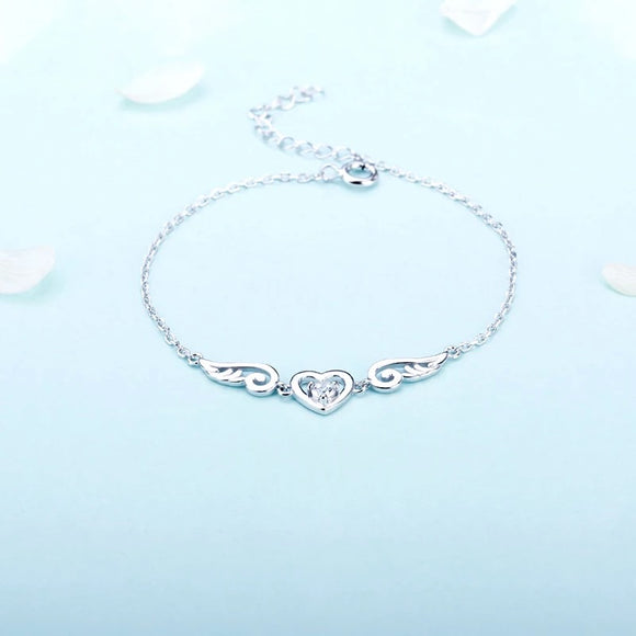 Sterling Silver Heart with Wings Bracelet