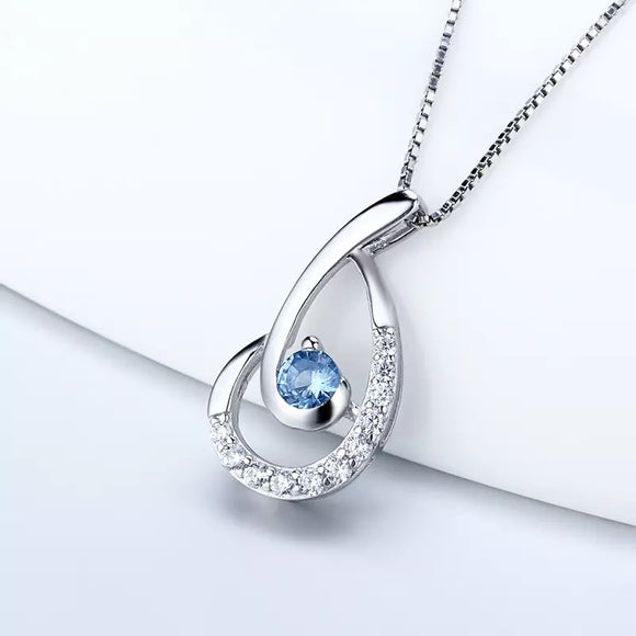 Sterling Silver Blue Gem Bling Pendant