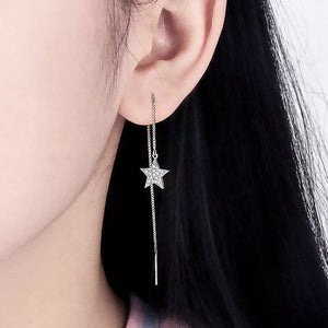 Sterling Silver Stunning Star Thread Earrings