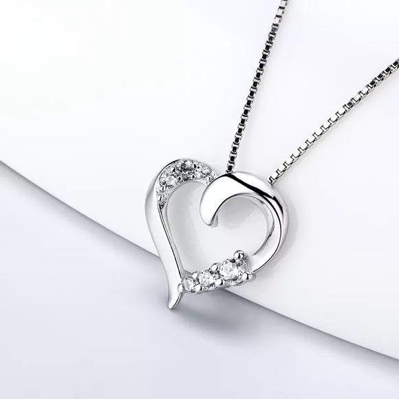Sterling Silver Dainty Heart with Gems Pendant