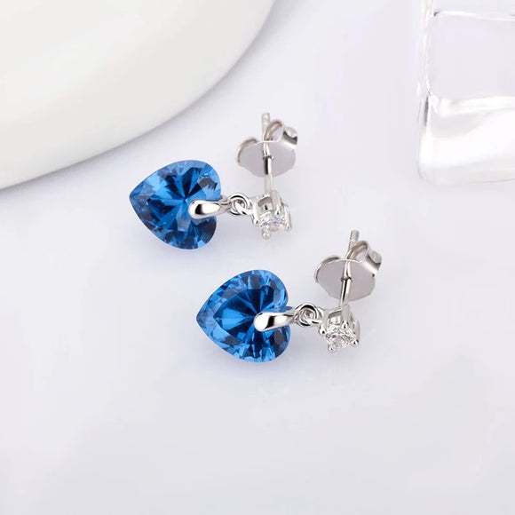 Sterling Silver Blue Zircon Heart Earrings