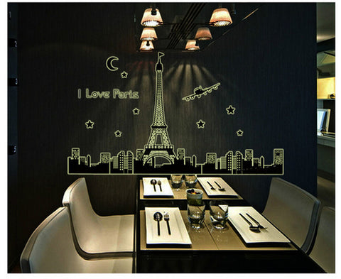 Paris Eiffel Tower Night Removable Luminous Wall Sticker Vinyl Decal Decoration glow in the dark