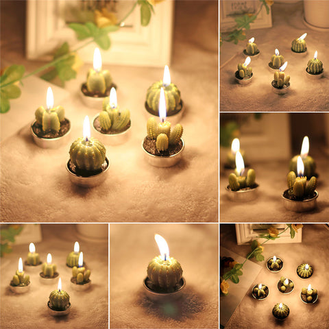 ABEDOE 6pcs Non-spill Cactus Candle Decorative