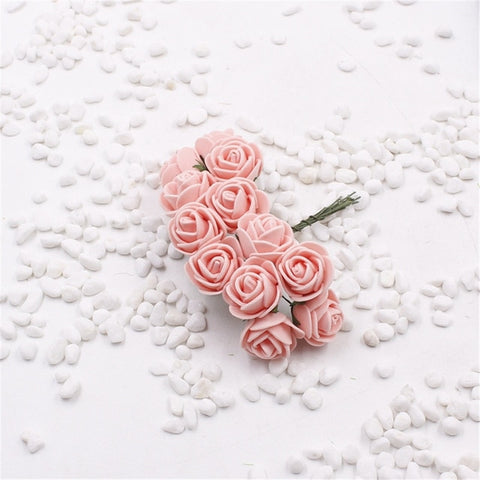 12 pcs Mini Foam Rose Artificial Flowers