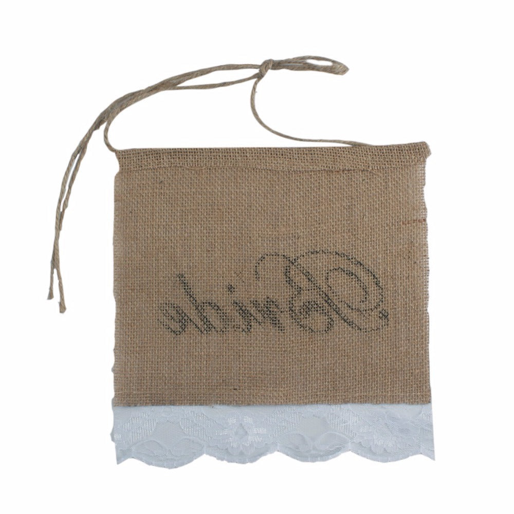 Bride & Groom Burlap Chair Banner