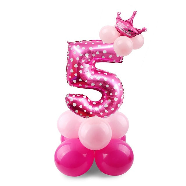 17PCS Blue & Pink Number Balloons