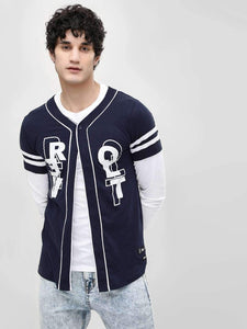 Long Sleeve Baseball Navy Blue Shirt | PRICE: Rs. 549 | Book for Rs. 31 only