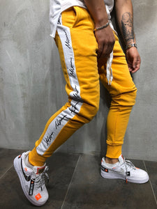Yellow Side strip Premium Joggers - 100% Cotton Street Wear