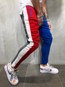 Red and Blue Panel 3 Colour Premium Joggers - 100% Cotton Street Wear