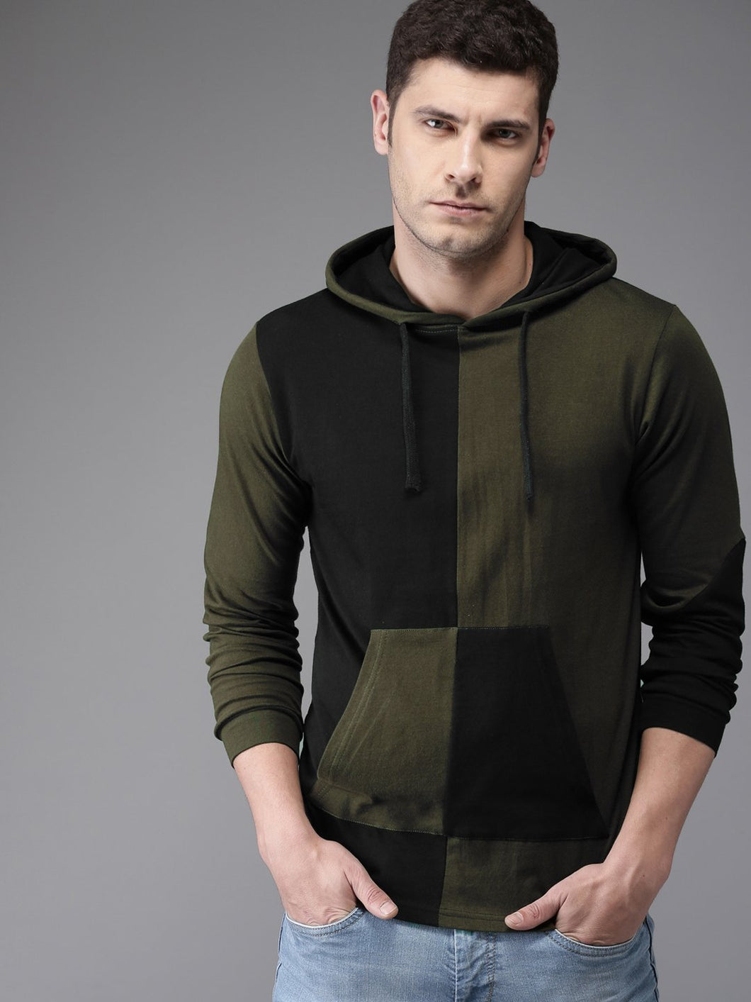 Olive black Panel premium Hooded Tee PRICE: Rs. 549 | Book for Rs. 31 only