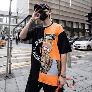Black Orange Strip Street Tee Khalifa-  100% Cotton - Street Wear- 24 Hour Clearance Sale