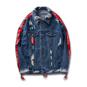 Denim Strip Jacket - Street Wear- 24 Hour Clearance Sale
