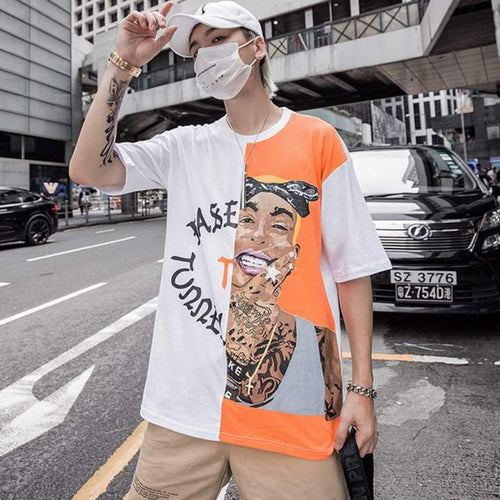 White Orange Strip Street Tee Khalifa-  100% Cotton - Street Wear- 24 Hour Clearance Sale