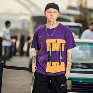 Purple Cargo Strip Street Tee Khalifa-  100% Cotton - Street Wear- 24 Hour Clearance Sale