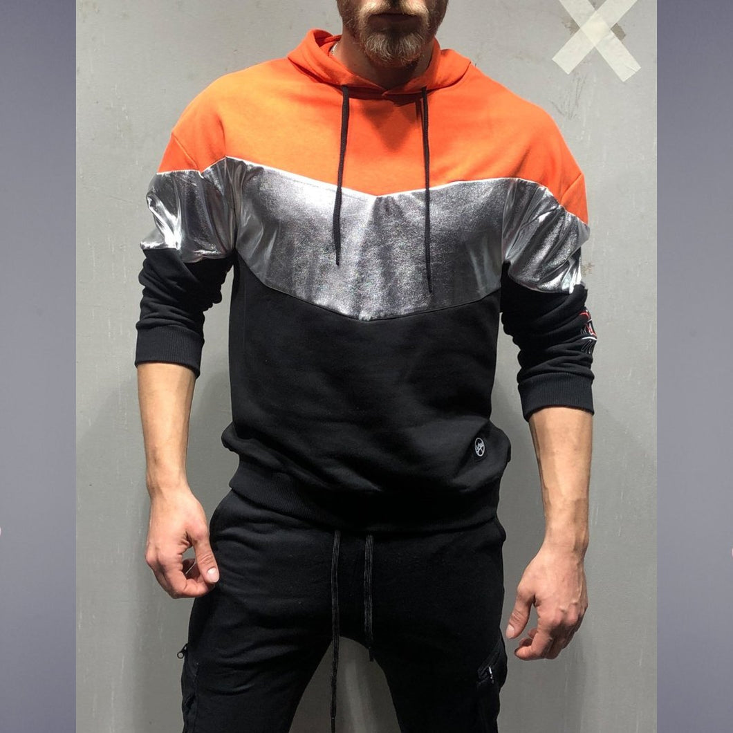Orange and Silver Hood T-Shirt- Premium Wear on Discount