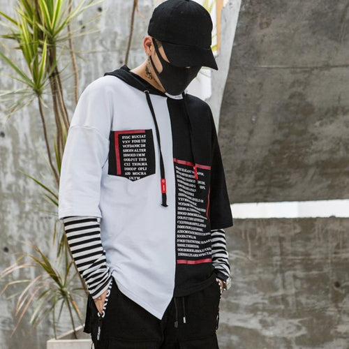 Black and white Hooded Hip Hop T-Shirt - Premium Wear on Discount