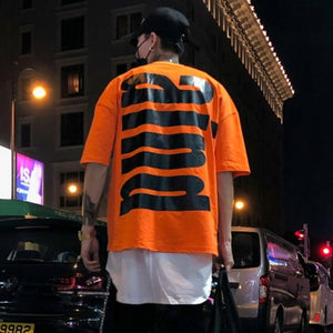 Orange Back Print Hip Hop T-Shirt - Premium Wear on Discount