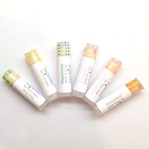 "6 piece lip balm gift set Creamy and nourishing ""vegan"" lip balm, with no add preservatives and no animal by-products, and only essential oil flavoring"