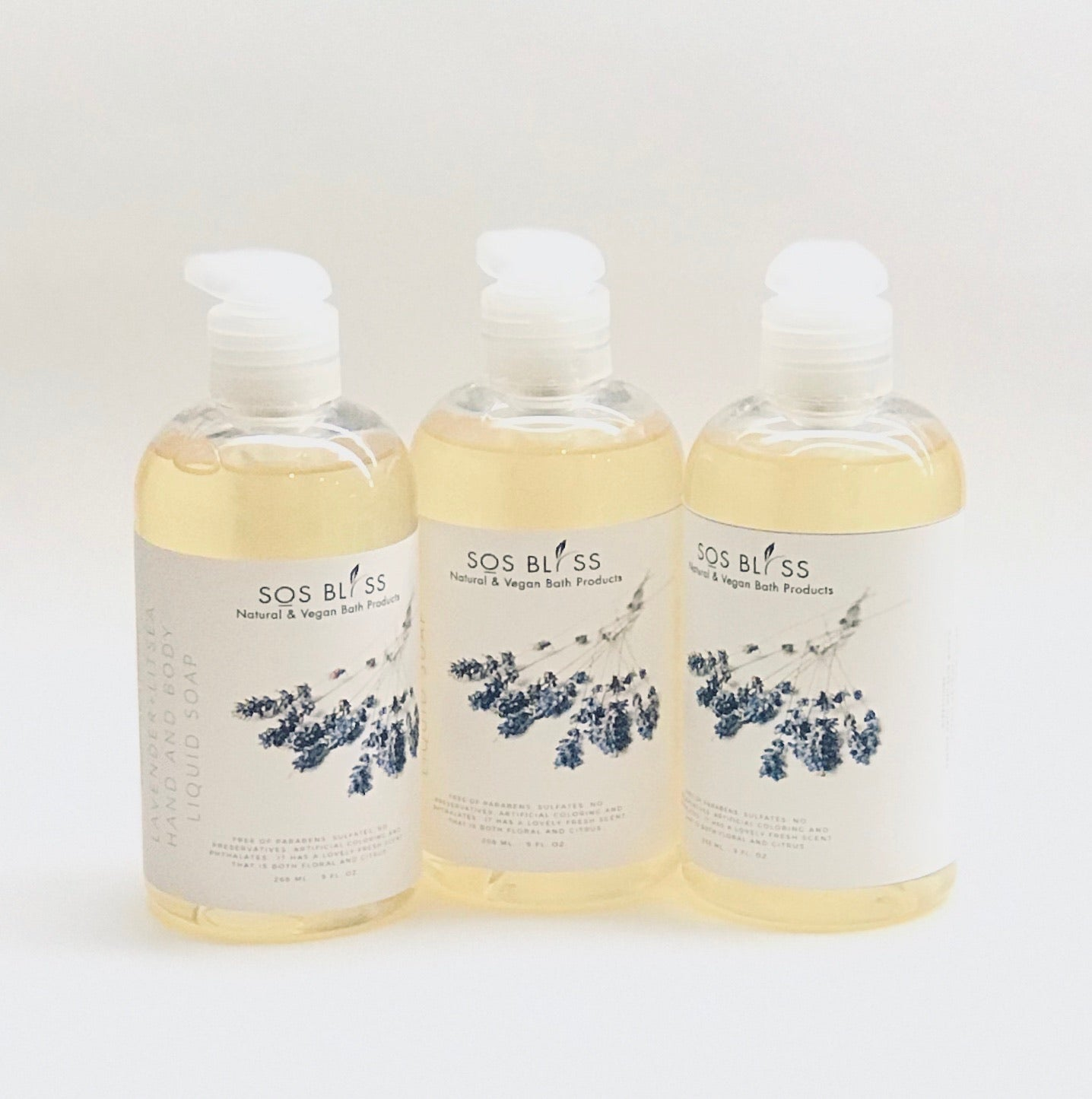 Lavender and Litsea Natural Liquid Soap, 9oz.