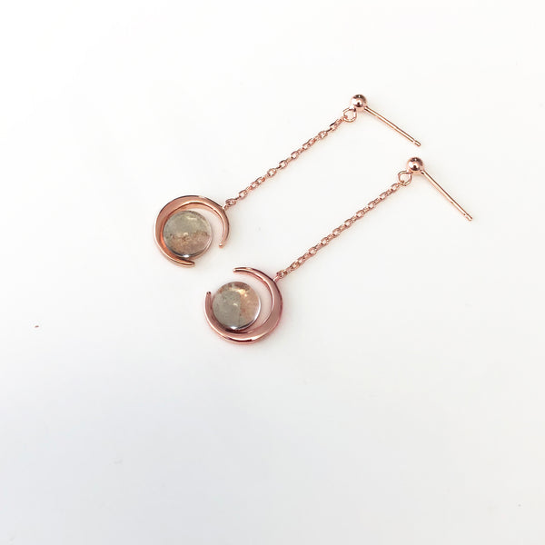Real Moon Dust Meteorite Earrings in 18K Rose Gold (From Lunar Meteorite NWA 5000)