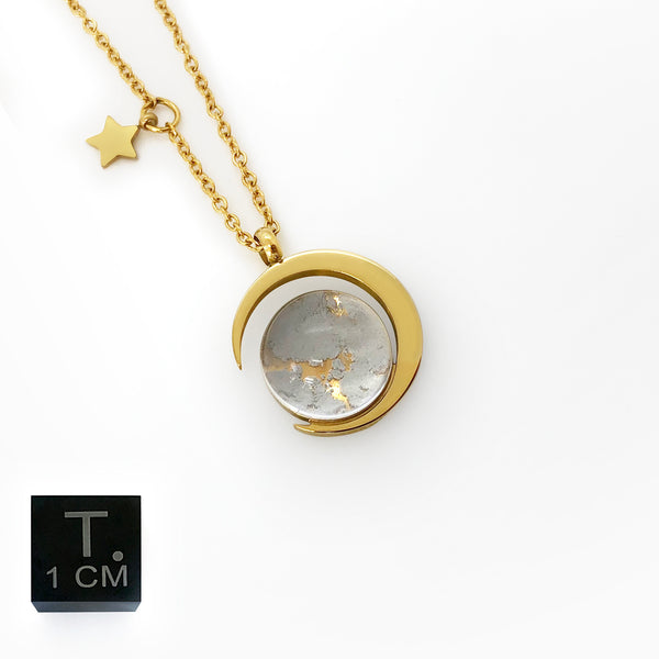 Real Moon Dust Meteorite Necklace in 18K Gold (From Lunar Meteorite NWA 5000)