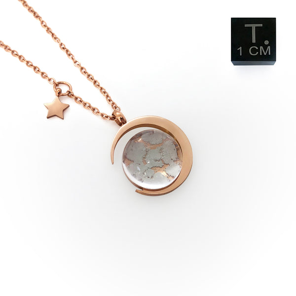 Real Moon Dust Meteorite Necklace in 18K Rose Gold (From Lunar Meteorite NWA 5000)