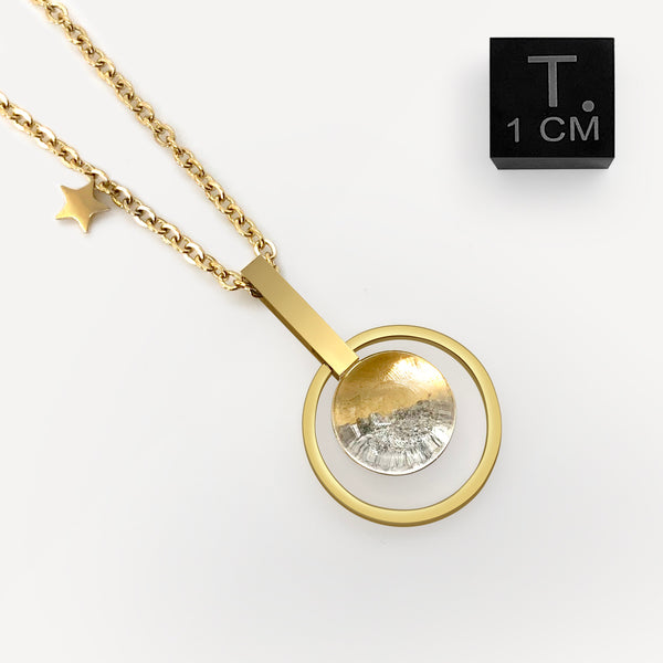 Real Moon Dust/Fragment Meteorite Necklace in 18K Gold (From Lunar Meteorite NWA 5000)