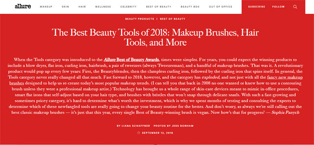Allure Press Hit | September 2018