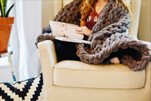 Load image into Gallery viewer, Chunky Knit Blanket in Gray