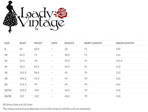 Lady Vintage size guide