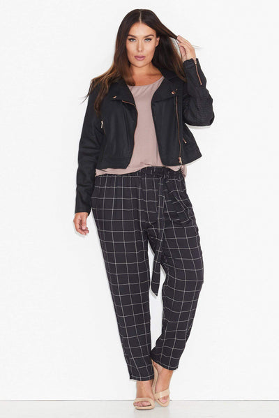 17 Sundays Grid Print Tie Waist Pants